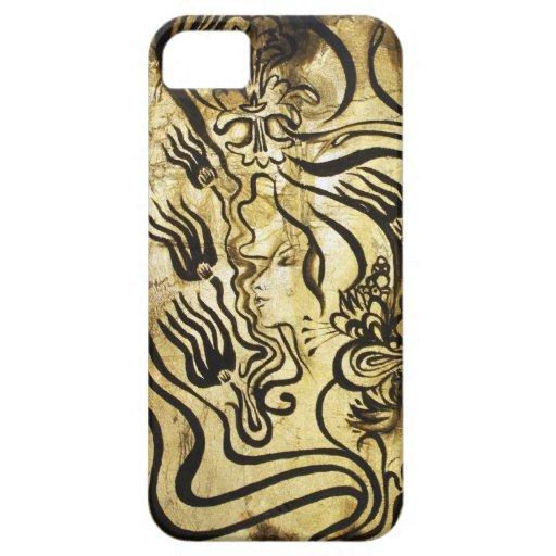 Negro y oro iPhone 5 carcasa
