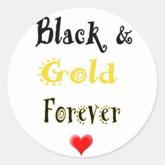 Negro y oro para siempre etiqueta redonda