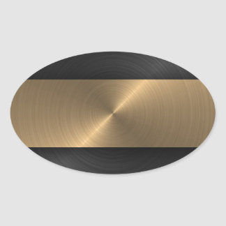 Negro y oro pegatina ovalada