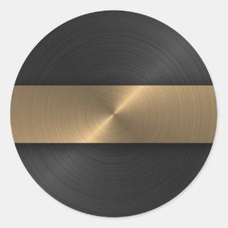 Negro y oro pegatina redonda