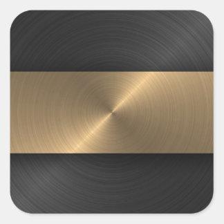 Negro y oro pegatina cuadrada