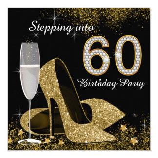 Negro y oro que caminan en fiesta de cumpleaños 60 invitación 13,3 cm x 13,3cm