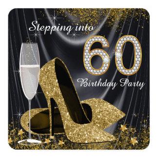 """Negro y oro que caminan en fiesta de cumpleaños 60 invitación 5.25"""" x 5.25"""""""
