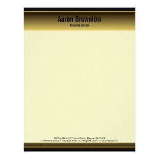 Negro y papel con membrete del negocio del membrete