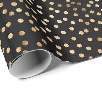 Negro y papel de embalaje de los puntos de la papel de regalo