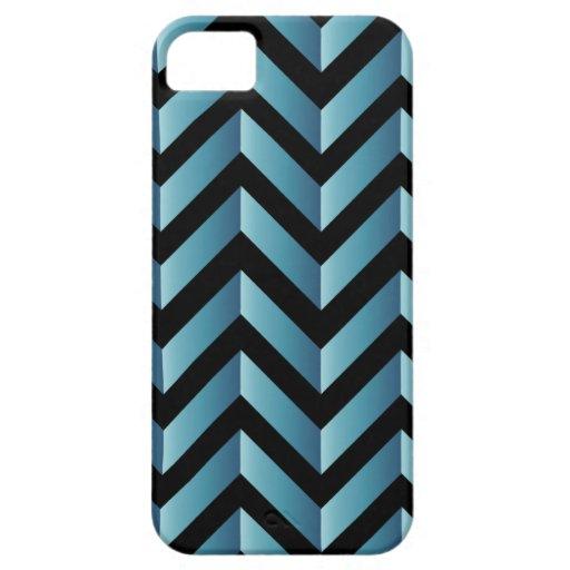 Negro y pendiente Chevron de la turquesa iPhone 5 Case-Mate Protectores