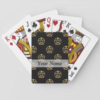 Negro y pentagram del oro barajas de cartas