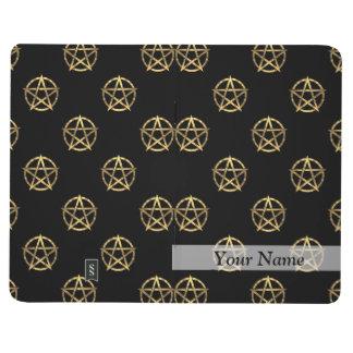 Negro y pentagram del oro cuaderno grapado