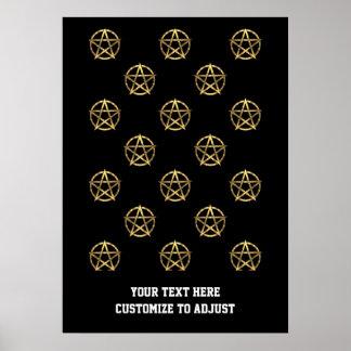 Negro y pentagram del oro poster