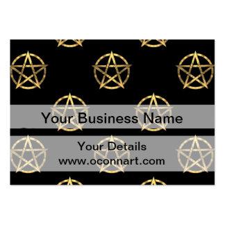 Negro y pentagram del oro tarjetas de visita grandes