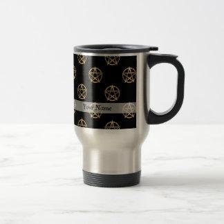 Negro y pentagram del oro tazas de café