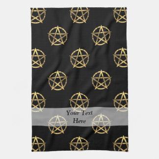 Negro y pentagram del oro toallas de cocina