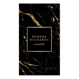Negro y planificador de eventos de mármol del oro tarjetas de visita