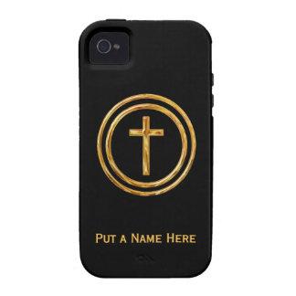 Negro y plantilla conocida cruzada del oro iPhone 4/4S carcasas