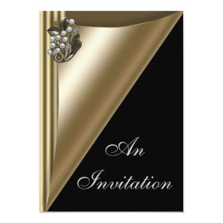Negro y plantilla de la invitación del fiesta del