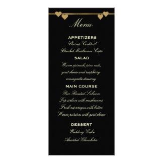 Negro y plantilla del menú del boda del oro tarjetas publicitarias a todo color