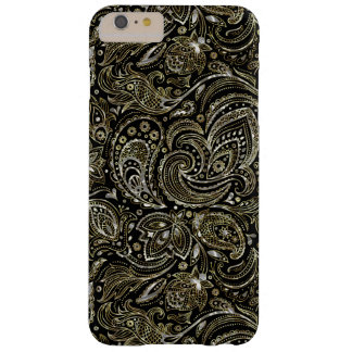Negro y plata metalizada con el oro Paisley floral Funda De iPhone 6 Plus Barely There