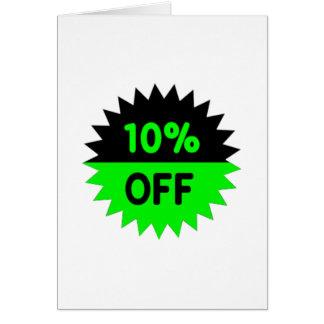 Negro y ponga verde el 10 por ciento apagado tarjeta pequeña