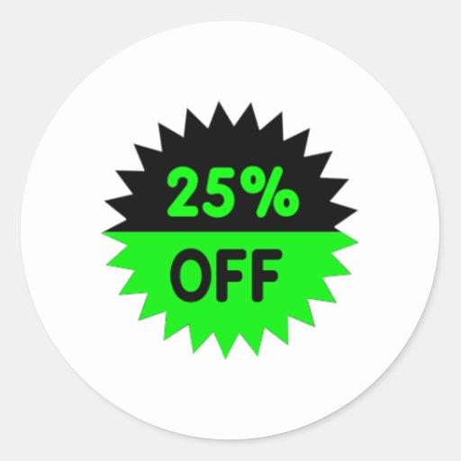 Negro y ponga verde el 25 por ciento apagado pegatina