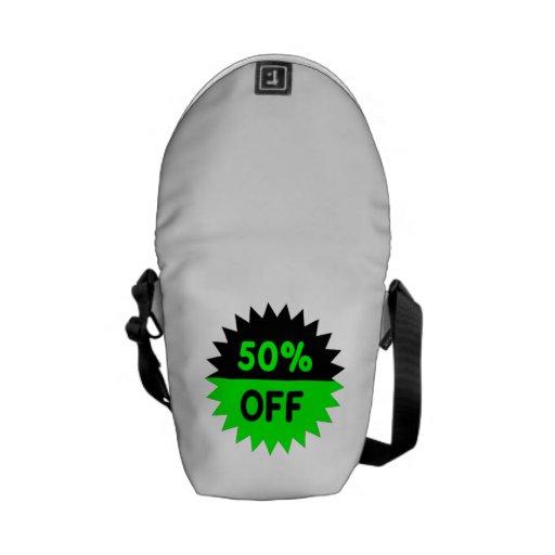 Negro y ponga verde el 50 por ciento apagado bolsas de mensajería