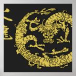 Negro y posters del dragón del fuego del oro