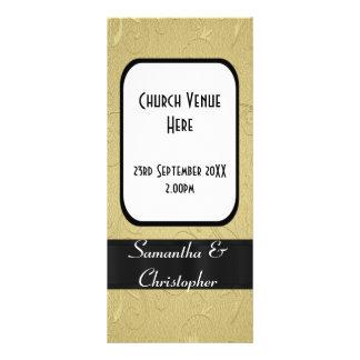 Negro y programa del boda de la iglesia del oro tarjeta publicitaria a todo color