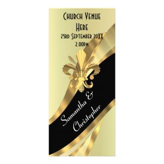 Negro y programa del boda del oro lona publicitaria