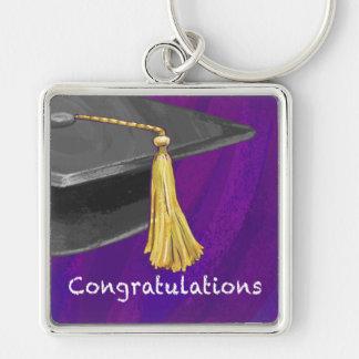 Negro y púrpura de la enhorabuena llavero cuadrado plateado