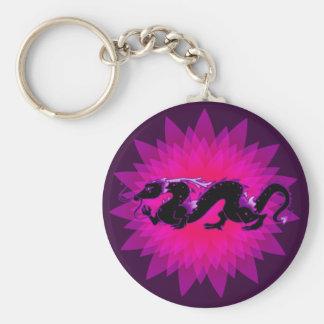 Negro y púrpura del dragón del dragón llavero redondo tipo pin