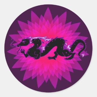 Negro y púrpura del dragón del dragón pegatina redonda