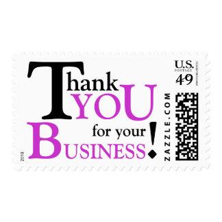 """Negro y púrpura """"gracias por su negocio """" estampilla"""