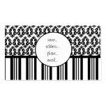 negro y raya blanca del damasco plantillas de tarjeta de negocio