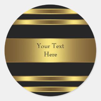 Negro y raya del oro pegatina redonda