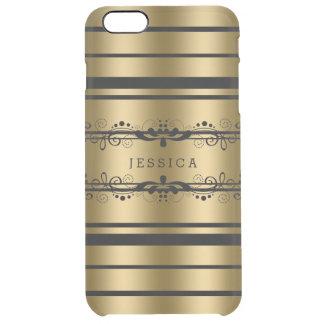 Negro y rayas de los tonos del oro con el cordón funda clearly™ deflector para iPhone 6 plus de unc