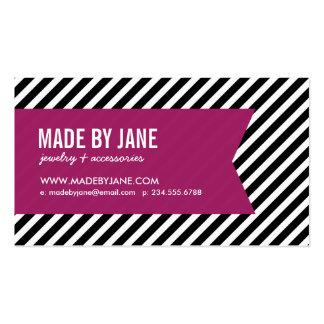 Negro y rayas y cinta modernas púrpuras de la baya tarjetas de visita