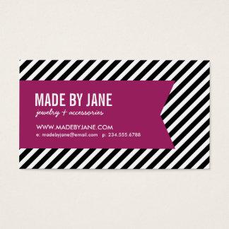 Negro y rayas y cinta modernas púrpuras de la baya tarjeta de negocios