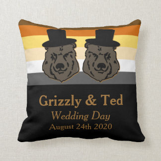 Negro y regalo de boda gay de la almohada de la