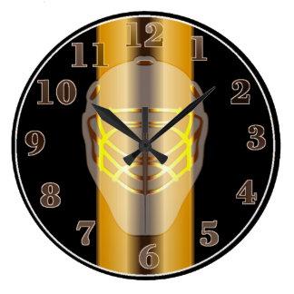 Negro y reloj de pared del hockey de la máscara