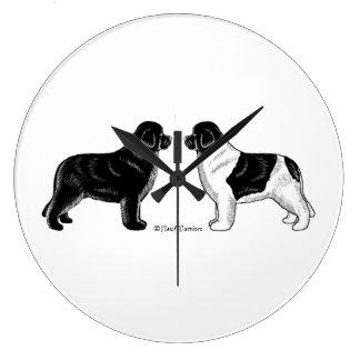 Negro y reloj de pared del perro de Landseer Terra