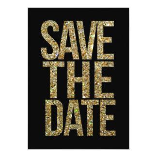 Negro y reserva del brillo del oro la tipografía invitación 12,7 x 17,8 cm