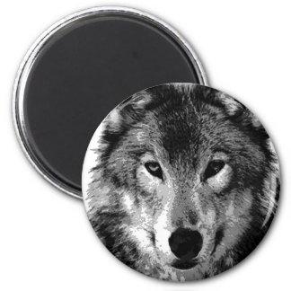 Negro y retrato de White Wolf Imanes Para Frigoríficos