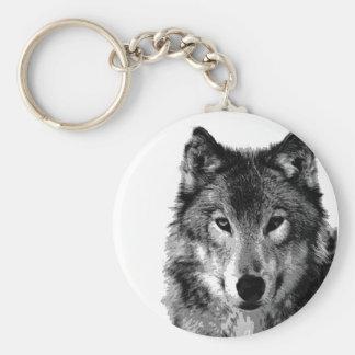 Negro y retrato de White Wolf Llavero Personalizado