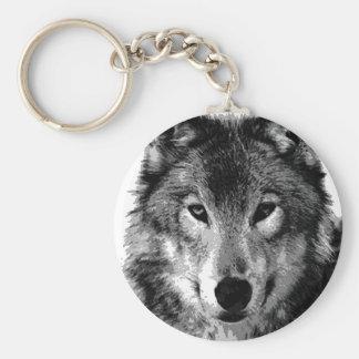 Negro y retrato de White Wolf Llaveros Personalizados