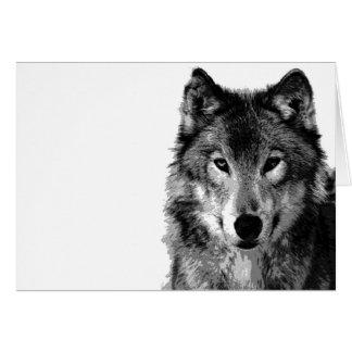 Negro y retrato de White Wolf Tarjeta