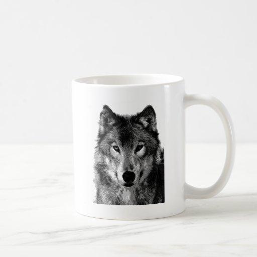 Negro y retrato de White Wolf Tazas De Café
