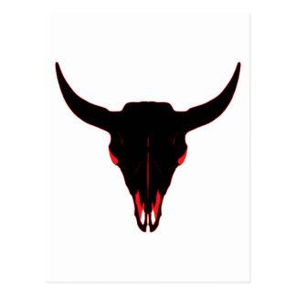 Negro y rojo del cráneo del bisonte postal