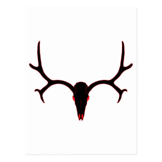 Negro y rojo del cráneo del ciervo mula postal