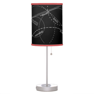 Negro y rojo del friki de la ciencia lámpara de escritorio