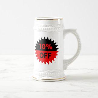 Negro y rojo el 10 por ciento apagado jarra de cerveza
