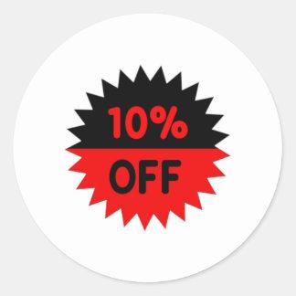 Negro y rojo el 10 por ciento apagado pegatina redonda